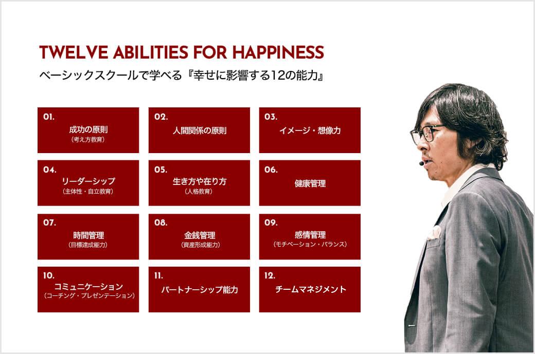 ベーシックスクールで学べる『幸せに影響する12の能力』